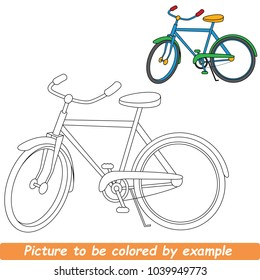 Bicycle Beautiful To Be Colored, The Coloring Book For Preschool Kids With Simple Educational Gaming Level.