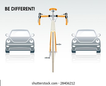 """Bicycle between gray cars 