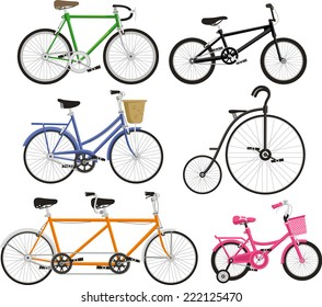 Bicycle Bike Cycling Cyclist Transportation Type, vector illustration cartoon.