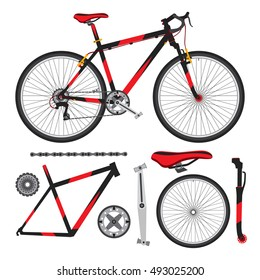 Bicycle, bike parts, accessories, details, ecological vehicle in flat style.