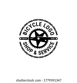 Bicycle, bike shop and service logo retro vintage vector. Chain, crank and gear illustration