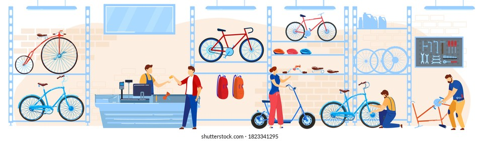 Bicycle bike store vector illustration. Cartoon flat buyers shoppers people choosing cycles, accessories or gear equipment for riding to buy at bike shop or shopping mall room interior background