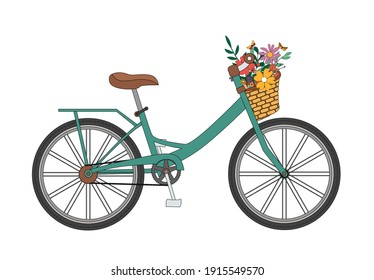 Bicycle with a bouquet of spring flowers. Vector Illustration