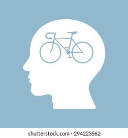 bicycle brain think man head. vector illustration