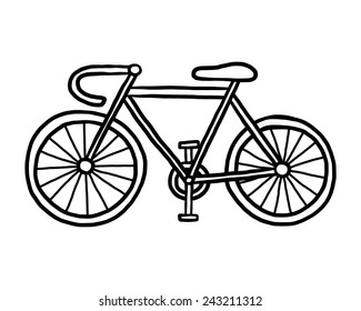 bicycle / cartoon vector and illustration, black and white, hand drawn, sketch style, isolated on white background.