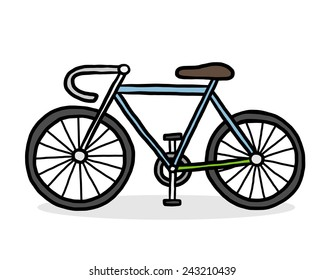 bicycle / cartoon vector and illustration, hand drawn style, isolated on white background.