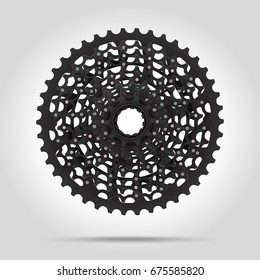 Bicycle Cassette mountain bike. Rear Bicycle Sprocket. Realistic vector