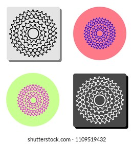 Bicycle cassette. simple flat vector icon illustration on four different color backgrounds
