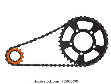 A bicycle chain and the driving and driven cogs
