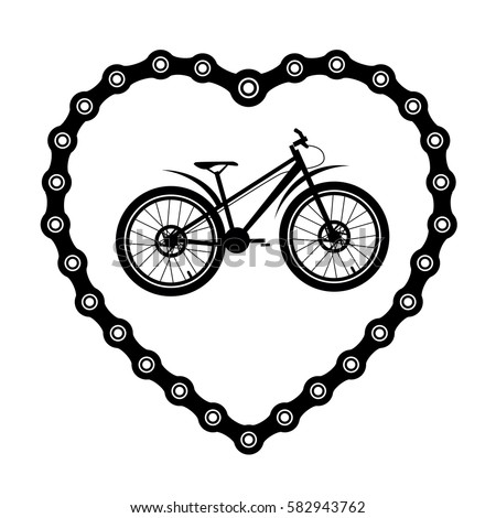 Bicycle Chain Form Heart Bicycle Stock Vector (Royalty Free ...
