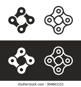 Bicycle chain links 4 pieces icon set. Bike club corporate branding identity vector logo template