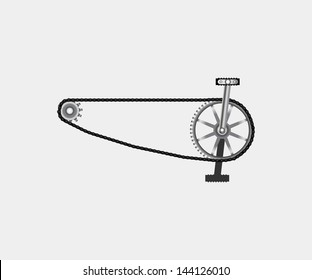 bicycle chain with pedals