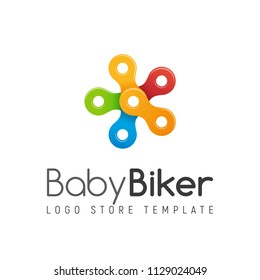 Bicycle chain vector colorful isolated logo. Kids bike shop logotype template on white background. Stylized colorful five-pointed star.