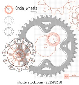 Bicycle chain wheels. Vector background composition