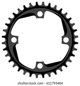 Bicycle chainring 36 tooth isolated.