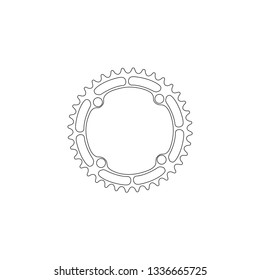 Bicycle chainring. Gear. simple flat vector icon illustration. outline line symbol - editable stroke