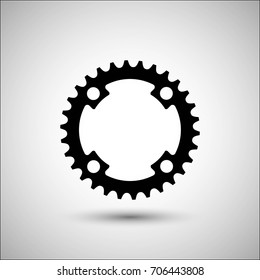 Bicycle chainring. Vector icon. More Icon in set.