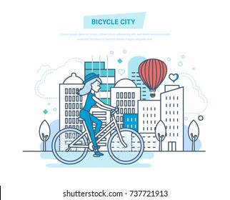 Bicycle city. Young girl rides in park by bike. Entertainment outside the home, in summer park, in weather is nice. Woman engaged fitness, by bike. Illustration thin line design of vector doodles.