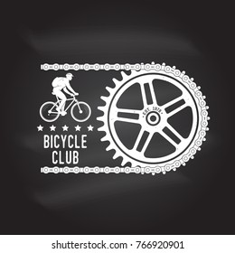 Bicycle Club. Vector illustration. Concept for shirt or logo, print, stamp or tee. Vintage typography design with cycling Gear and chain silhouette. Extreme sport. Chalk drawing on a blackboard.