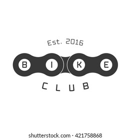 Bicycle club vector logo, emblem, sign. Graphic icon, illustration, design element of bicycle chain