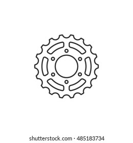 Bicycle cog icon in thin outline style. Sport transportation repair parts drive chain gear