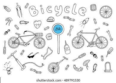 Bicycle collection in doodle style.Vector illustration.