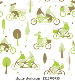 Bicycle concept with people in park, vector design