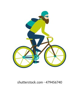Bicycle courier messenger. Hipster bearded guy character on fixed gear bike. Green and blue outfit. Isolated flat design vector illustration on white background.