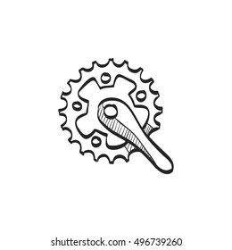 Bicycle crank set icon in doodle sketch lines. Bicycle cycling road race sport rotor pedal