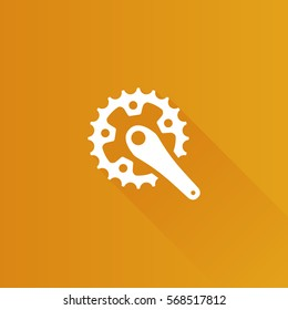 Bicycle crank set icon in Metro user interface color style. Bicycle cycling rotor