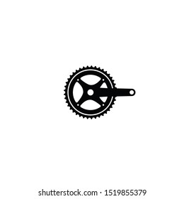 bicycle crank set single chainring vector illustration logo icon template