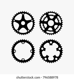 Bicycle crank vector collection isolated on white background