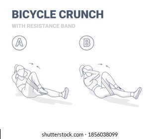 Bicycle Crunch Abs Female Home Workout Exercise Guidance. Outline Concept of Girl Working at Her Abdominals a Young Woman in Sportswear Does the Fitness Crisscross Crunch Exercise For Flat Tummy.