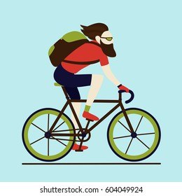 Bicycle delivery messenger courier bearded hipster male character with backpack wearing shorts and t-shirt. Urban logistics transportation. Isolated cyclist on blue background.