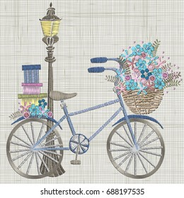 Bicycle Embroidery with small blue flowers in basket and gifts. Streetlight.  Vector Embroidery Design, ornament for textile,  fashion, fabric pattern. Linen cloth texture. Hoop Art