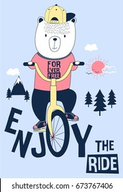 bicycle and enjoy bear illustration vector for print design.