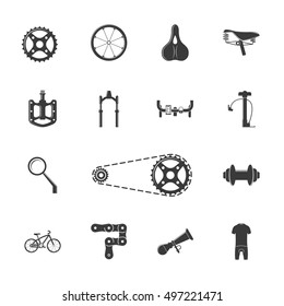 Bicycle equipment and parts set of vector black icons, symbols and design elements isolated on white background.