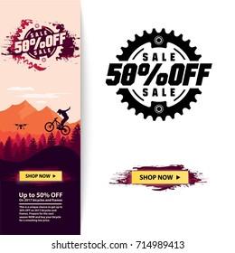 Bicycle e-shop banner template. Sale banner. End of season sale. Flat landscape. Vector