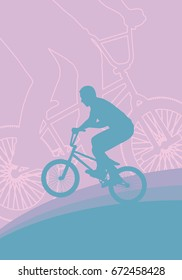 Bicycle extreme freestyle rider action vector abstract background