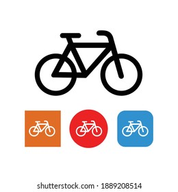 Bicycle fitness line art icon for app and websites