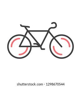 Bicycle flat line icon. Public transportation symbol, black cycle, bike sign on white background