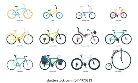 Bicycle flat vector illustrations set. Equipment for outdoor activity cartoon cliparts. BMX, mountain, road, utility, touring bike. Eco transport, pedal-driven vehicle isolated design element