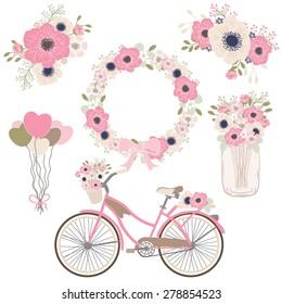 Bicycle flower / wedding  / decor element / mason jar / spring color