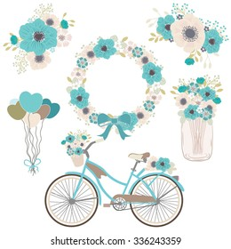 Bicycle flower / wedding flower / decor element / mason jar / blue