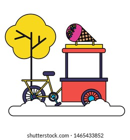 bicycle food ice cream park street tree vector illustration