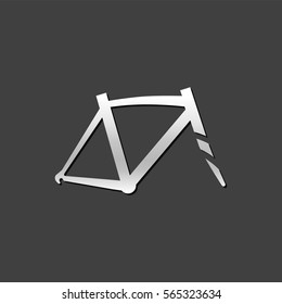 Bicycle frame icon in metallic grey color style. Sport cycling parts