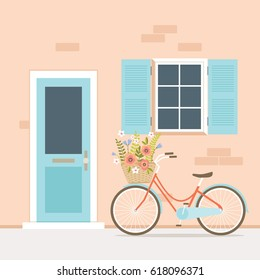 Bicycle in front of house entrance vector illustration