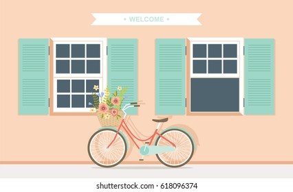 Bicycle in front of house facade vector illustration