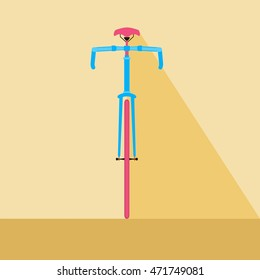 Bicycle front view. Flat design style bicycle. Cartoon Vector Illustration.