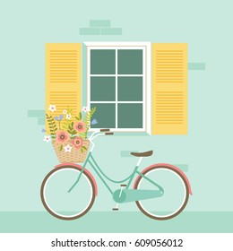 Bicycle in front of the window vector illustration